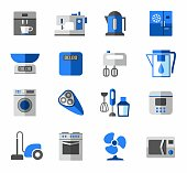 Icons, home appliances, color, blue, grey.