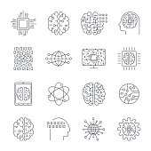 Icons in contour, thin and linear design. Artificial Intelligence, Modern technology. Concept illustration for website, apps, programs. AI, IoT, Robot, Cyber brain, chipping and other