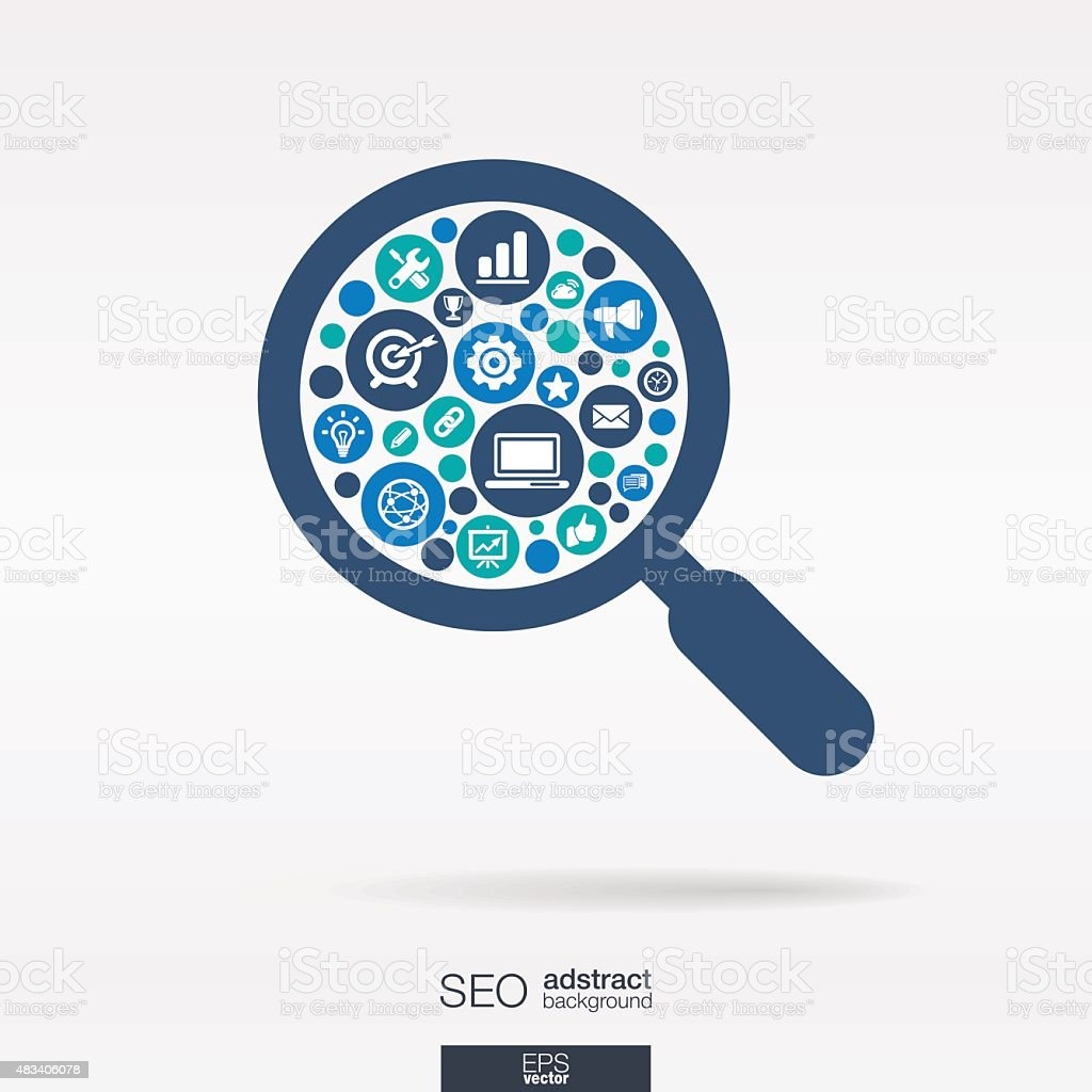 SEO icons in magnifier glass shape abstract background: vector illustration. vector art illustration