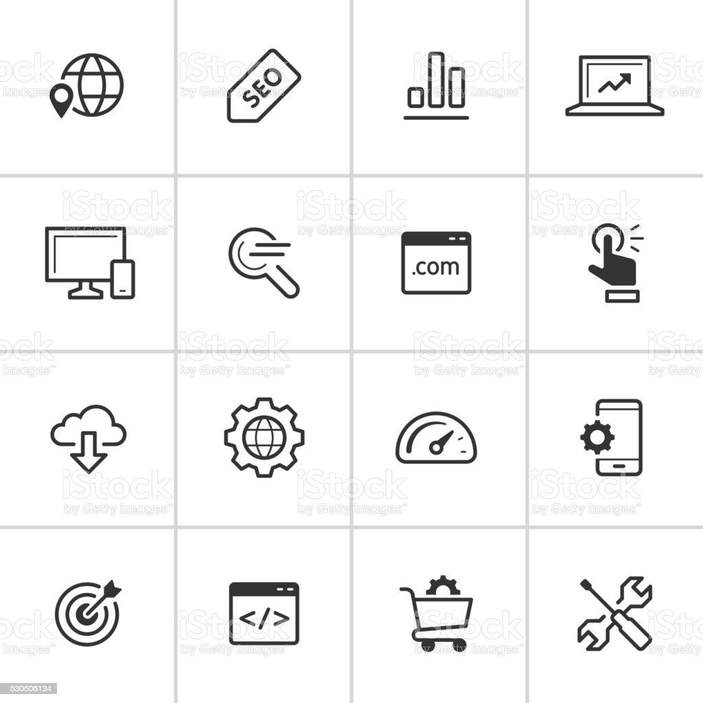 SEO Icons — Inky Series vector art illustration