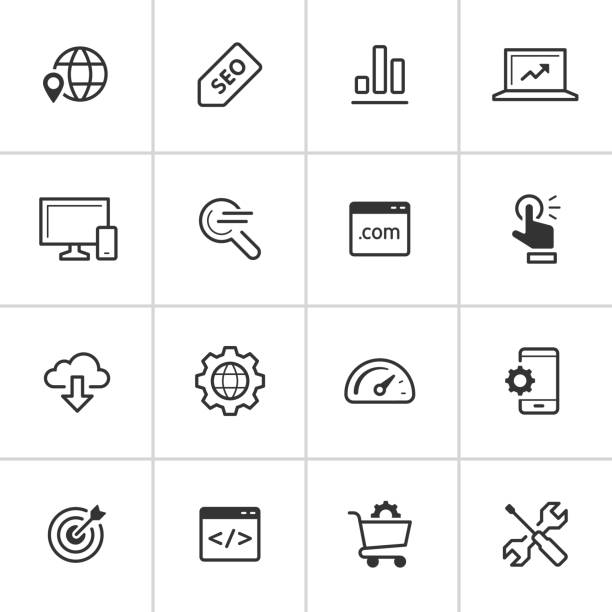 SEO Icons — Inky Series Professional icon set in flat black style. Vector artwork is easy to colorize, manipulate, and scales to any size. website design stock illustrations