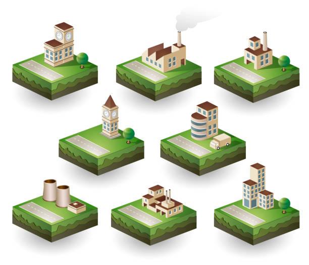 значки изометрические - иллюстрации на тему архитектура stock illustrations