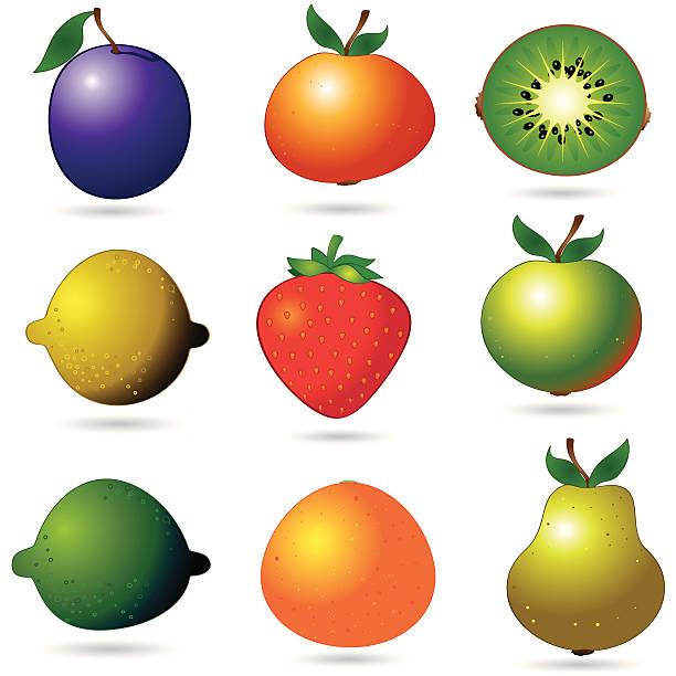 значки просто фрукты - four seasons stock illustrations