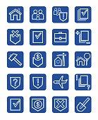 Icons legal services, civil law, white, contour, blue background, monochrome.