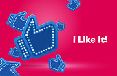 Icons like social network are falling down. Hand, big finger up on pink background. I like it!