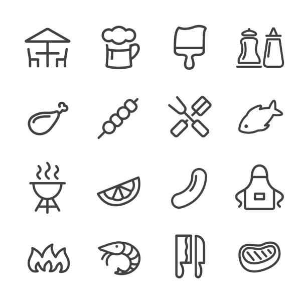 bbq icons - line series - grilling stock illustrations