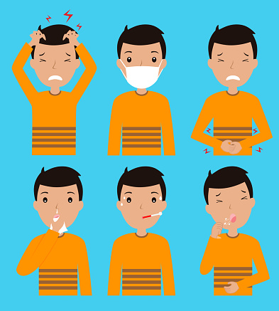 icons man with disease symptoms. Isolated vector