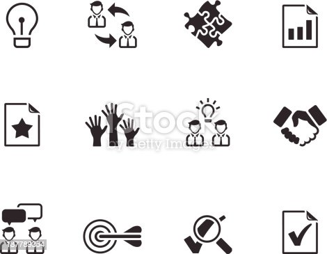 Management icon series  in black and white. EPS 10. AI, PDF & transparent PNG of each icon included.
