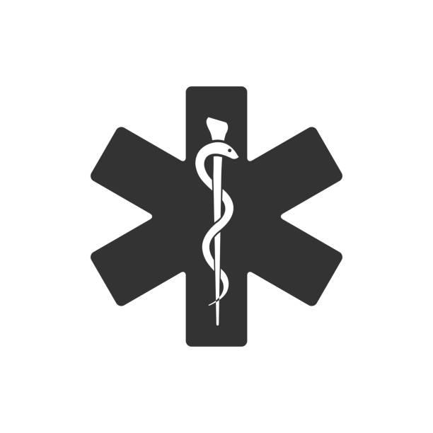 bw アイコン - 医療のシンボル - ヘルメスの杖点のイラスト素材/クリップアート素材/マンガ素材/アイコン素材