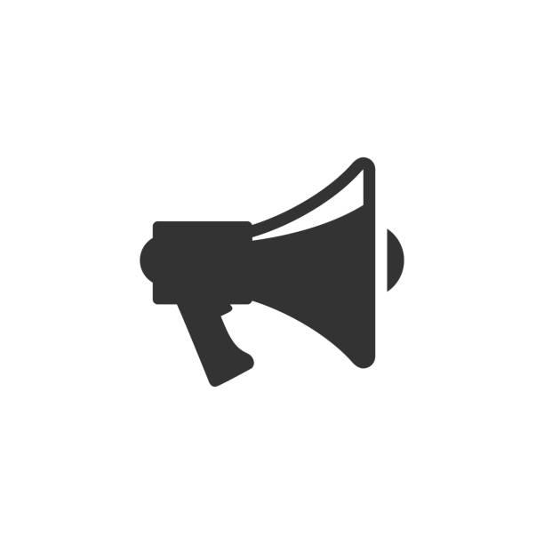 illustrations, cliparts, dessins animés et icônes de icônes de bw - mégaphone - megaphone