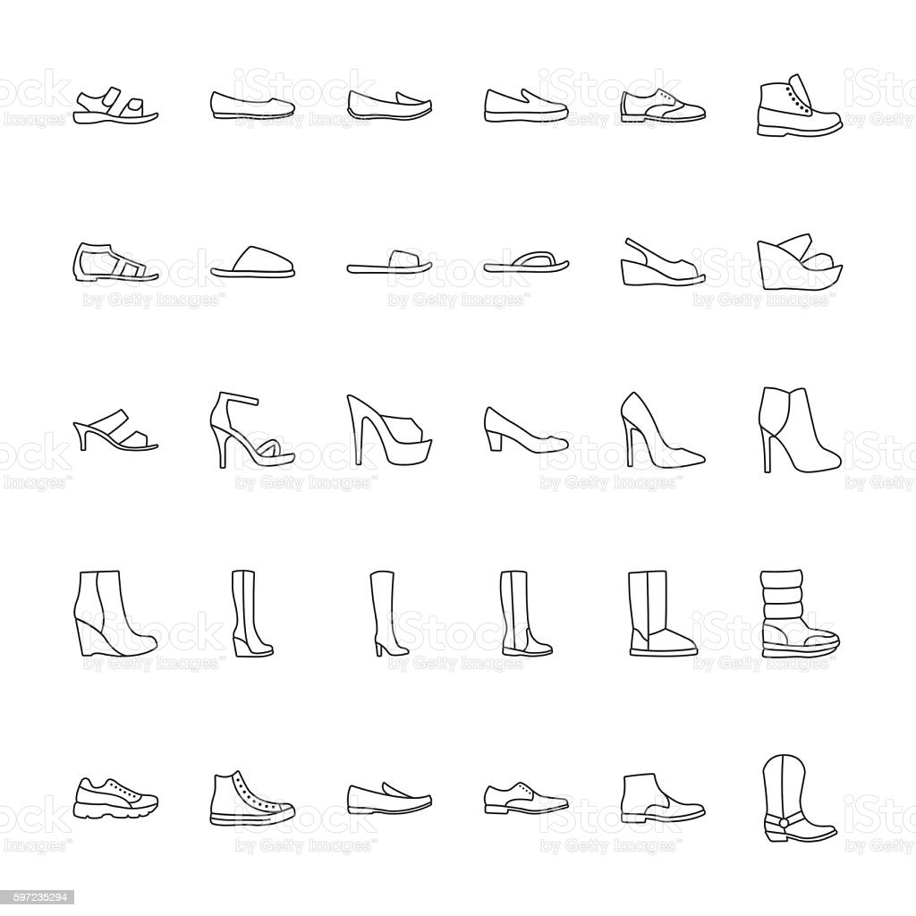 Icons men and  women fashion shoes. vector art illustration