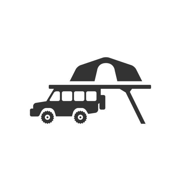 bw-icons - mobile camping zelt - dachzelt stock-grafiken, -clipart, -cartoons und -symbole