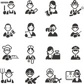 Icons of 16 different professions