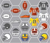 Icons of American football gears. Vector illustration.