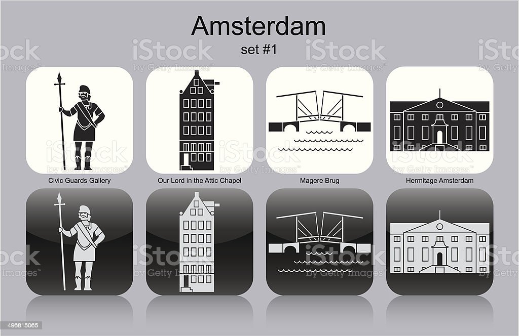 Icons of Amsterdam vector art illustration