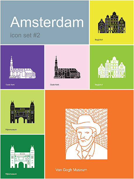 Icons of Amsterdam Landmarks of Amsterdam. Set of flat color icons in Metro style. Editable vector illustration. rijksmuseum stock illustrations
