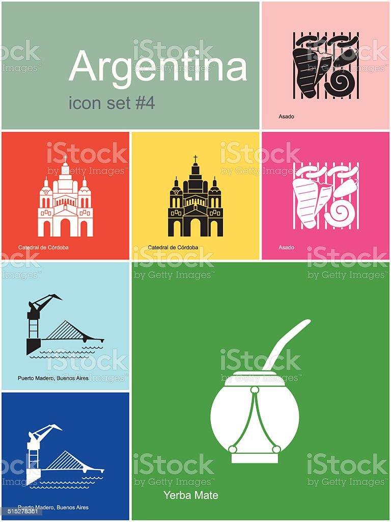 Ícones da Argentina - ilustração de arte em vetor