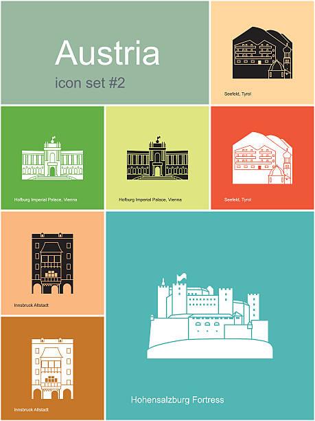 bildbanksillustrationer, clip art samt tecknat material och ikoner med icons of austria - salzburg