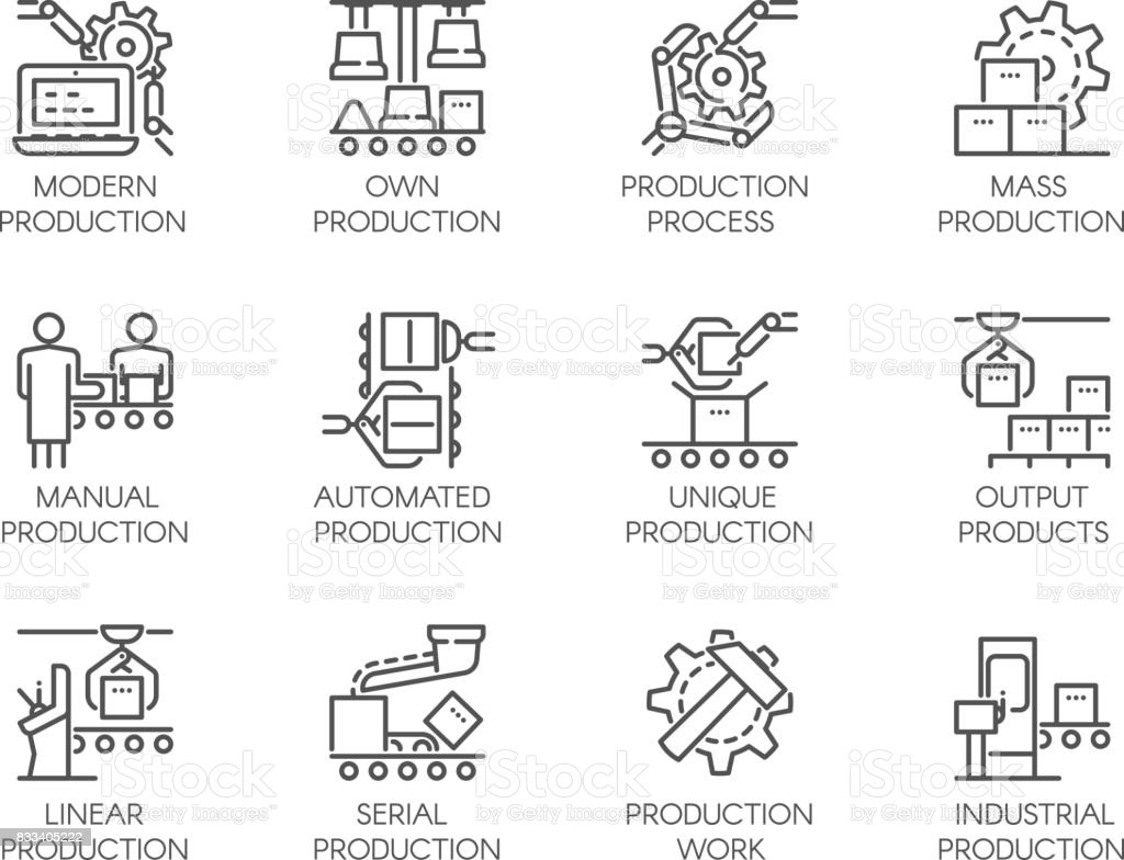 Icons of automatic and manual production. 12 mono linear web graphic pictograms. Editable Stroke. 64x64 Pixel Perfect vector art illustration