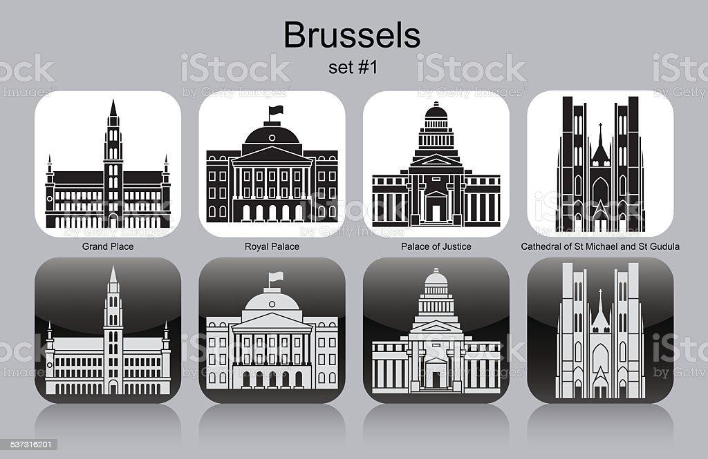 Iconos de Bruselas - ilustración de arte vectorial