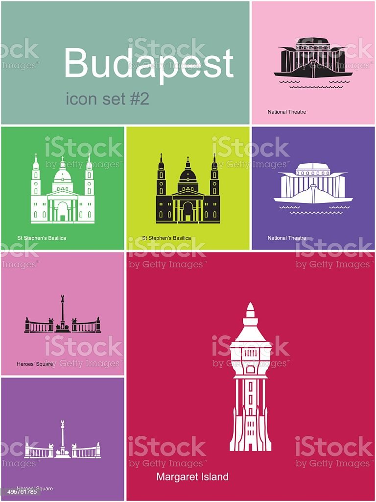 Icons of Budapest vector art illustration