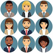 Icons of businessmen depicted in a portrait style.