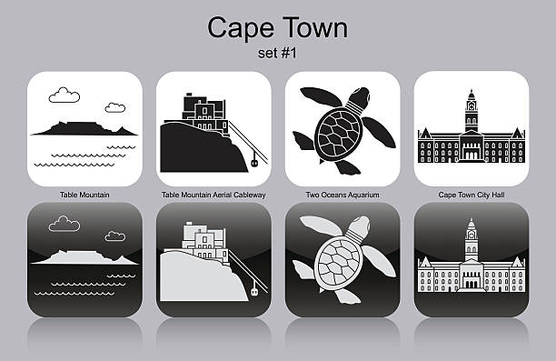 icons of cape town - table mountain south africa stock illustrations