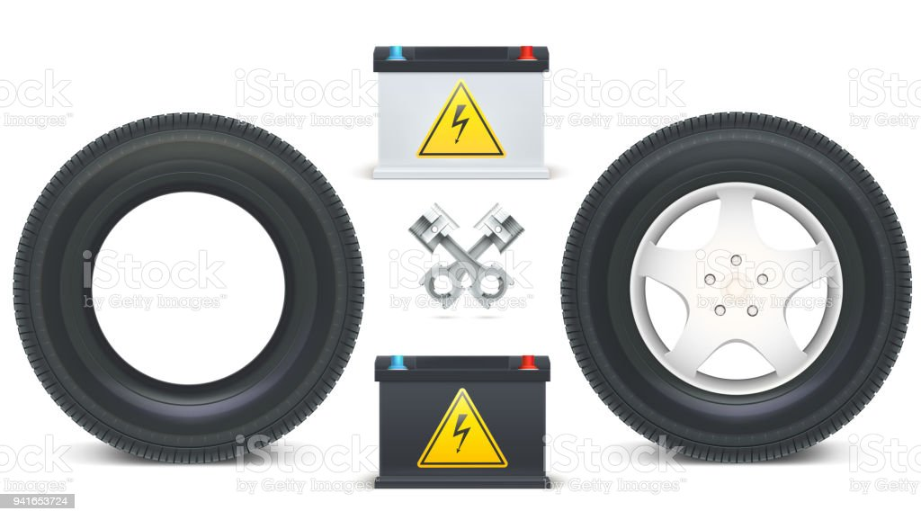 Icons Of Car Parts For Garage Auto Services Kit Of Car Batteries ...