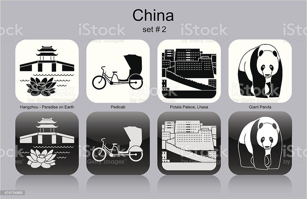 Icons of China vector art illustration