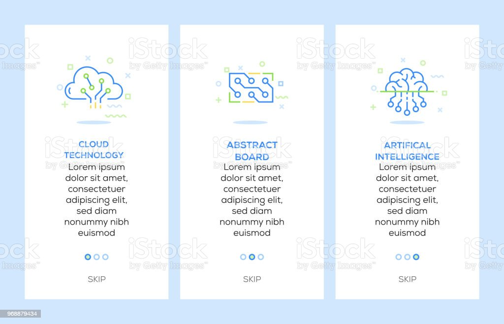 Icons of Cloud Technology, Abstract Board, Artifical Intelligence. Electronics Concept Web Elements vector art illustration