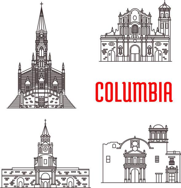 icons of columbian famous buildings - cartagena stock-grafiken, -clipart, -cartoons und -symbole