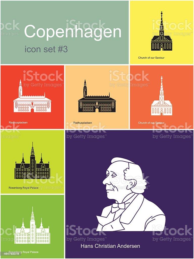 Icons of Copenhagen vector art illustration
