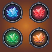 round icons of magic crystals on a dark background