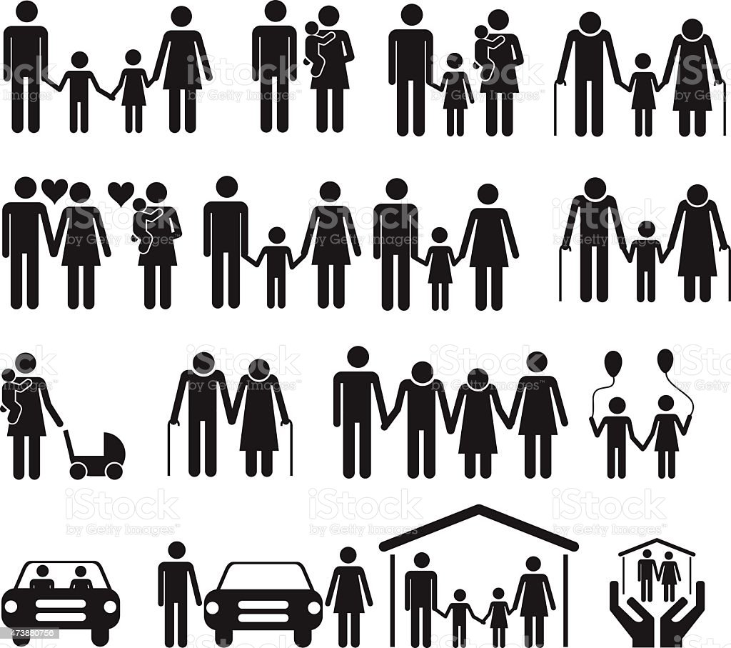 Icons of different stages of family life vector art illustration