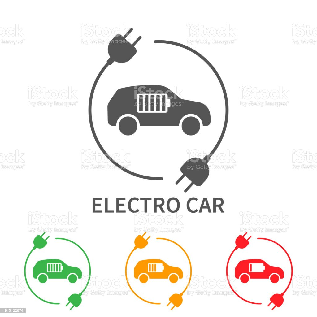 Icons of electric cars, vector. Side view of the electric vehicle. The indication of the battery level in the electric car vector art illustration