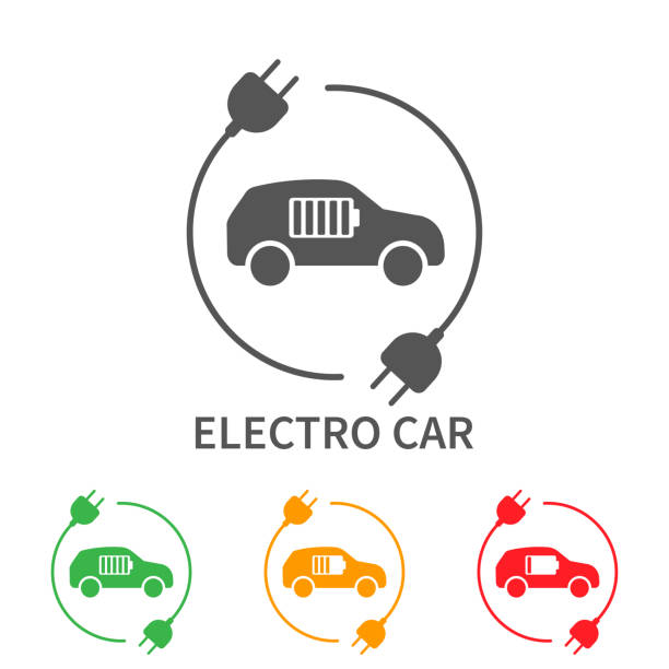 Icons of electric cars, vector. Side view of the electric vehicle. The indication of the battery level in the electric car Icons of electric cars, vector. Side view of the electric vehicle. The indication of the battery level in the electric car. EPS 10 electric car stock illustrations
