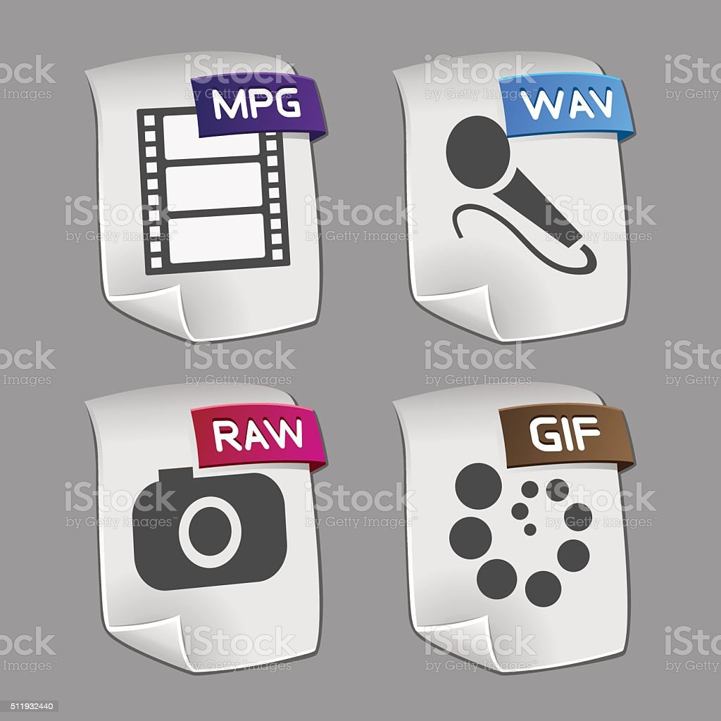 Icons of files Collection vector art illustration