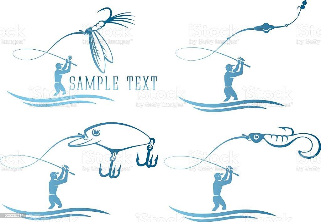icons  of fishing vector art illustration