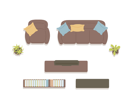 Icons of furniture top view for home living room a vector isolated illustration.