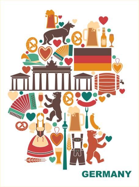 아이콘의 독일 지도 형태로 - 독일 stock illustrations