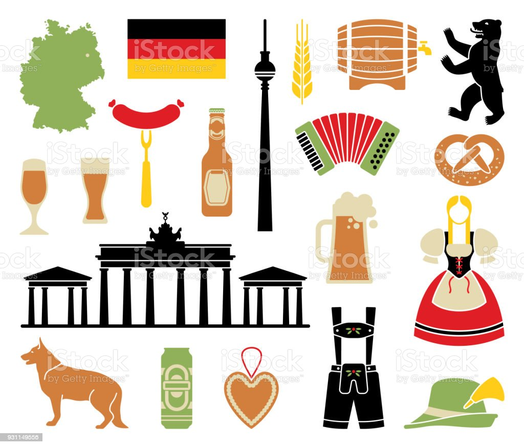 Icons Of Germany vector art illustration