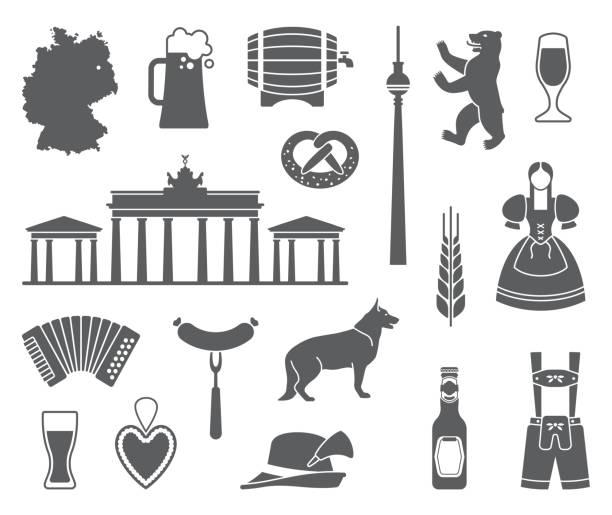 bildbanksillustrationer, clip art samt tecknat material och ikoner med ikoner av tyskland. vektorillustration - korv