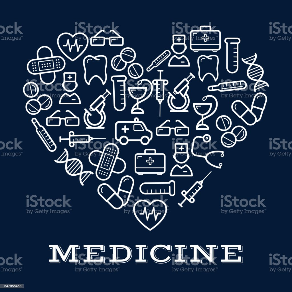 Icons of healthcare or medicine equipment as heart vector art illustration