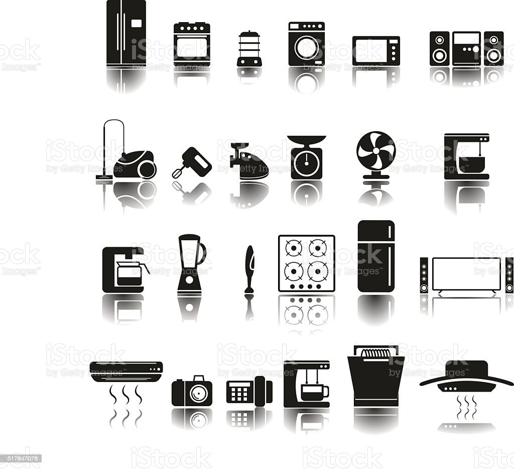 24 Icons of home appliances vector art illustration
