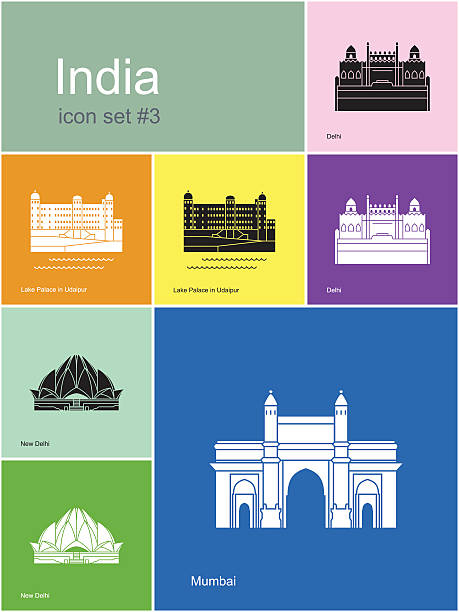 Icons of India Landmarks of India. Set of color icons in Metro style. Editable vector illustration. lake palace stock illustrations