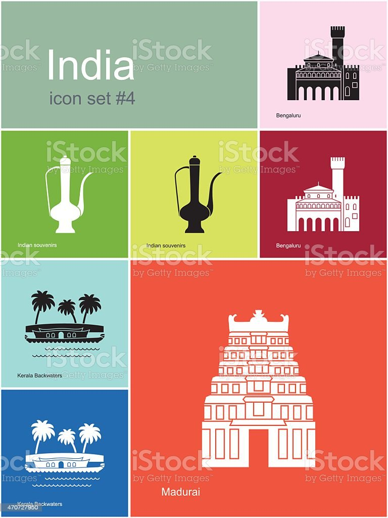 Icons of India vector art illustration