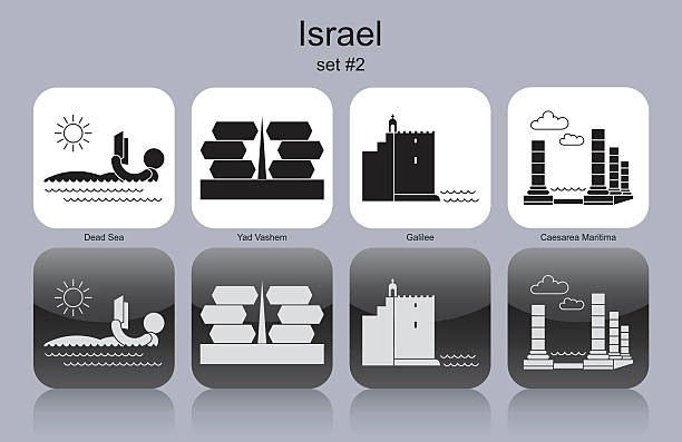 stockillustraties, clipart, cartoons en iconen met icons of israel - newspaper beach