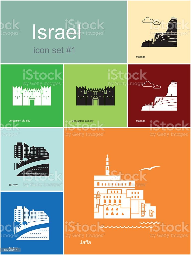 Icons of Israel vector art illustration