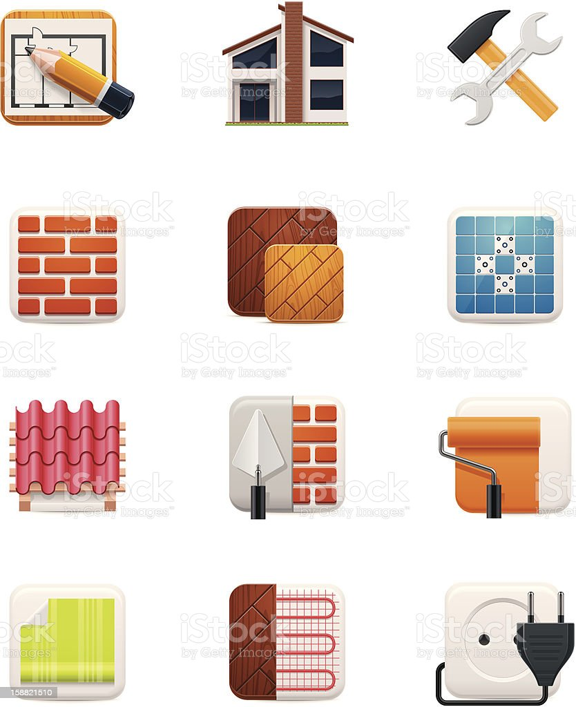 Icons of items used to remodel houses vector art illustration