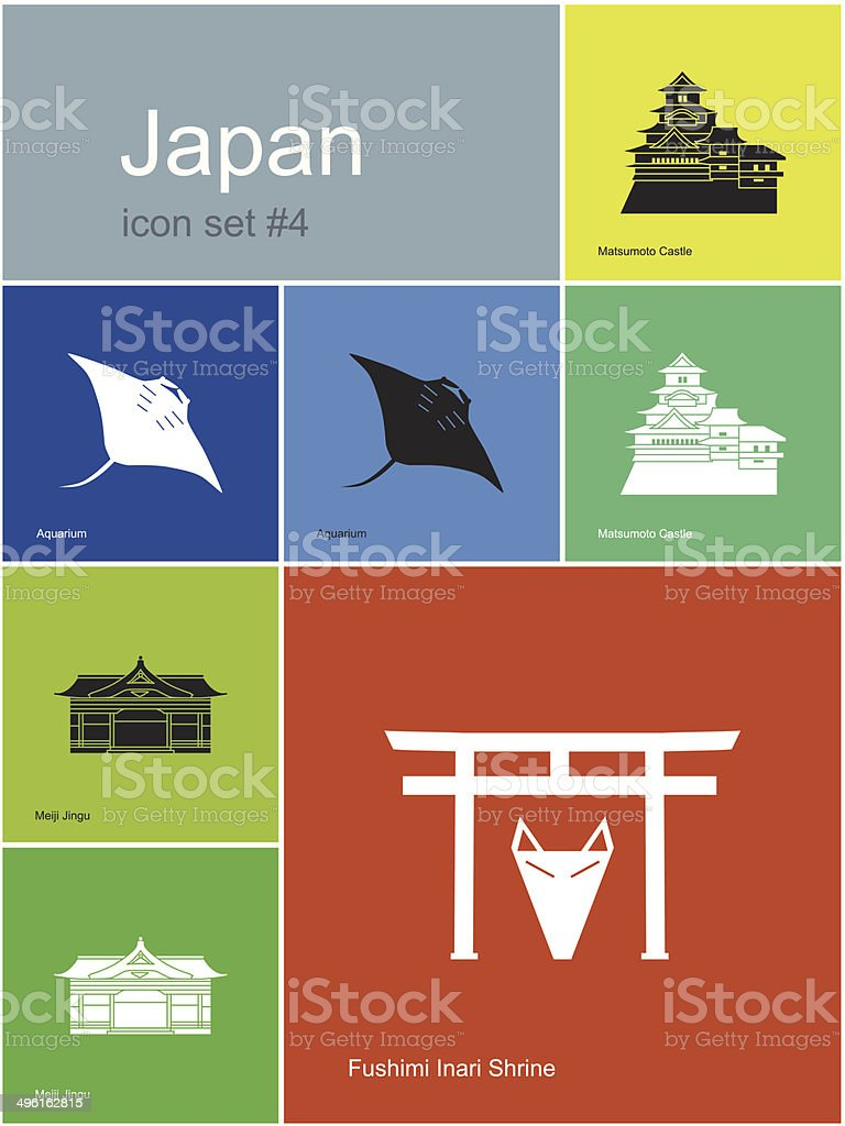 Icons of Japan vector art illustration
